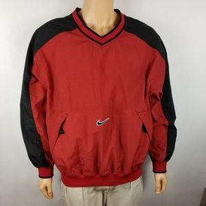 e13386db5 Nike Jackets & Coats - NIKE Men Windbreaker Sz L Red Black Swoosh V Neck